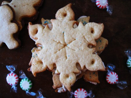 Peppermint Fudge filled Snowflake cookie